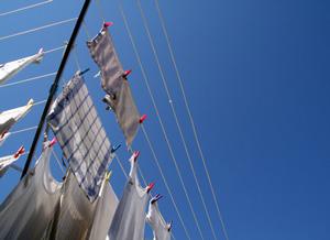 Textilien hängen zum Trocknen auf einer Wäschespinne